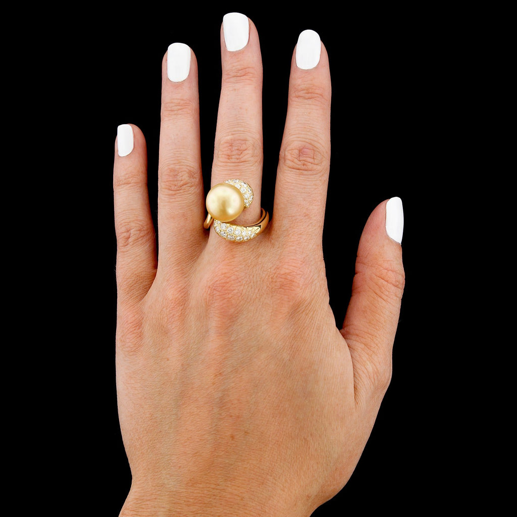 18K Yellow Gold Estate South Sea Cultured Baroque Golden Pearl and Diamond Ring