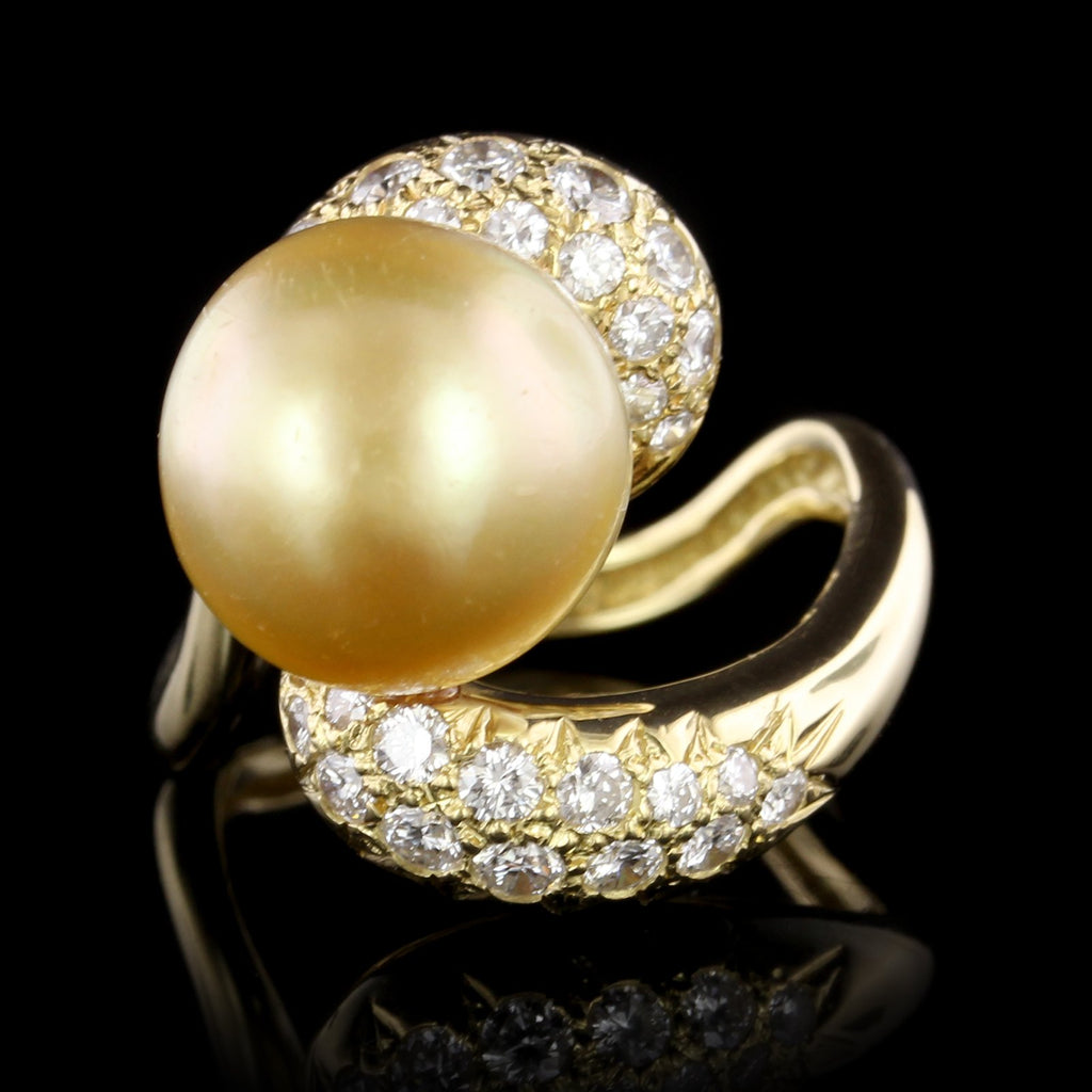 2a98d3afd 30 Day Money Back Guarantee. 18K Yellow Gold South Sea Cultured Baroque  Golden Pearl and Diamond Ring ...
