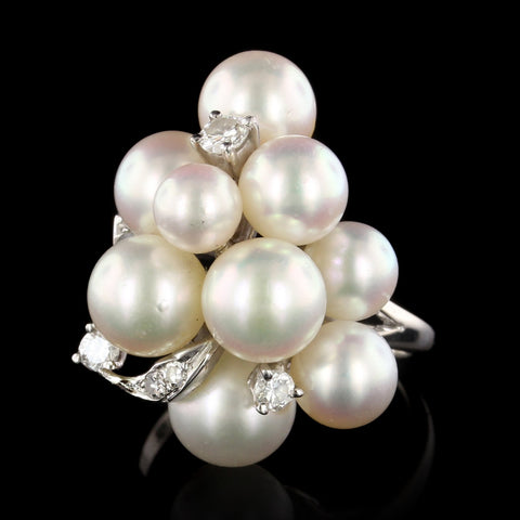 14K White Gold Estate Cultured Pearl and Diamond Ring