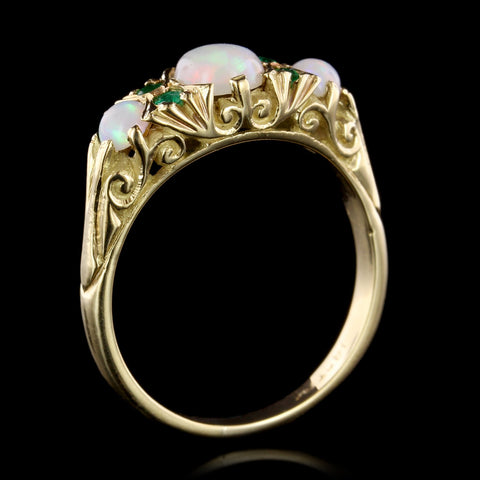 18K Yellow Gold Opal and Emerald Ring