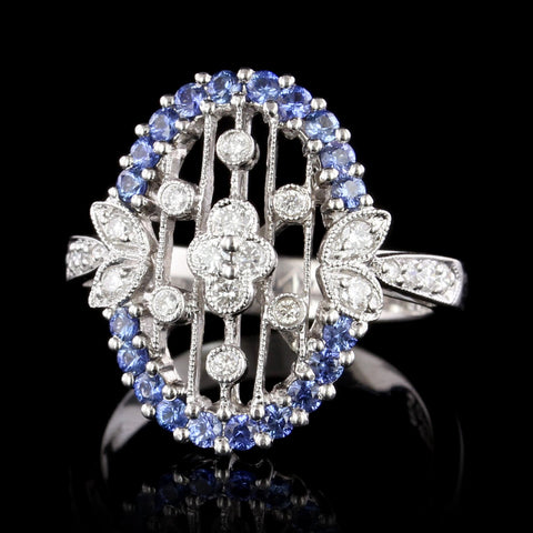Vintage Style 18K White Gold Sapphire and Diamond Ring