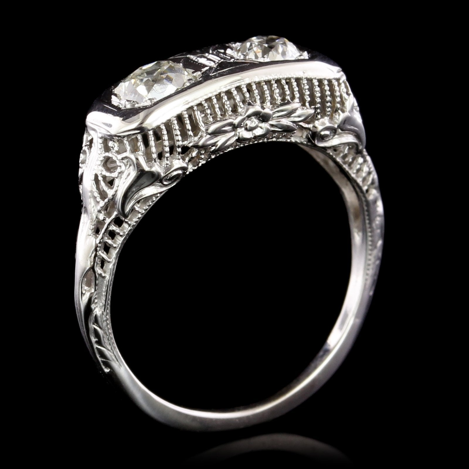Antique 14K White Gold Estate Diamond Twin-stone Ring