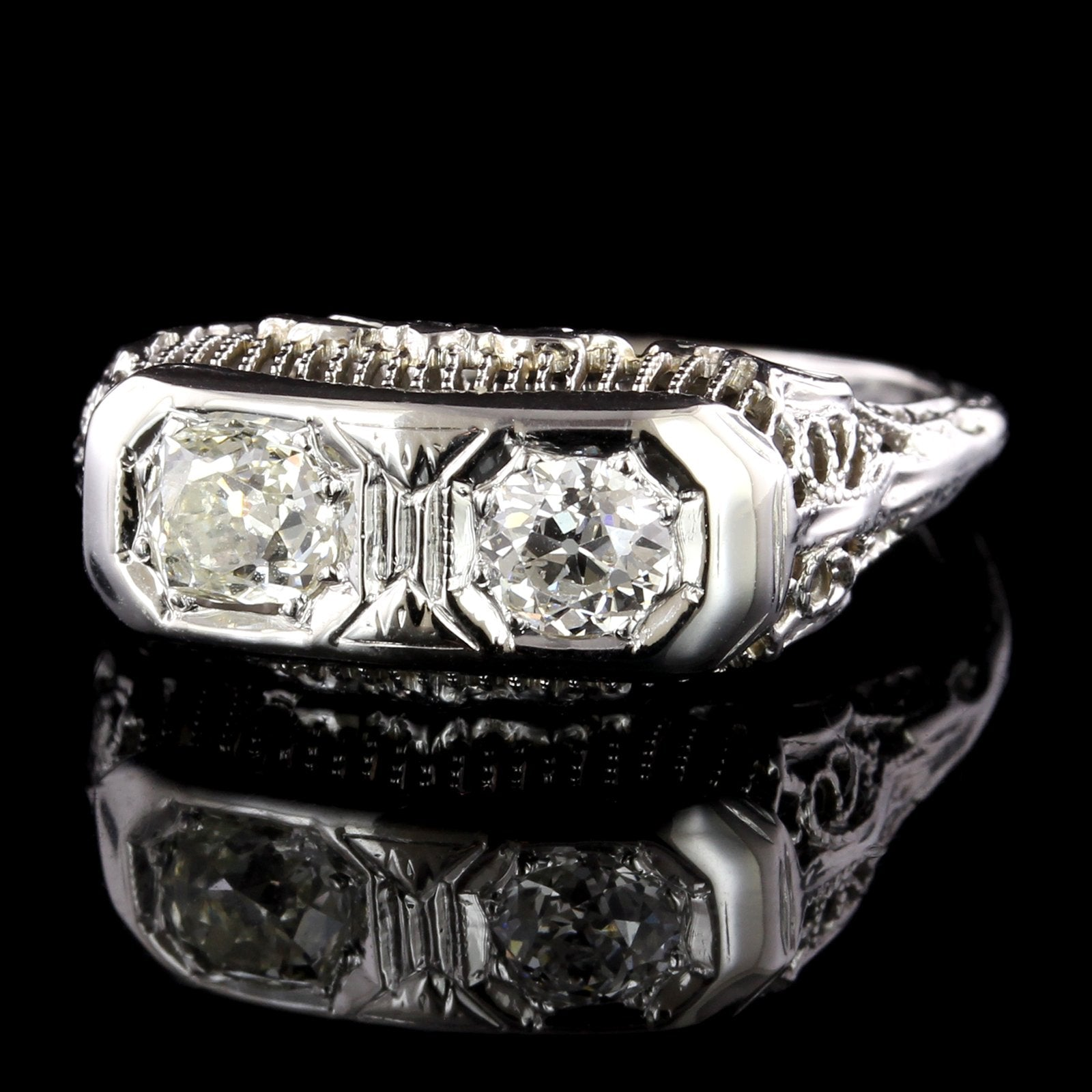Antique 14K White Gold Diamond Twin-stone Ring