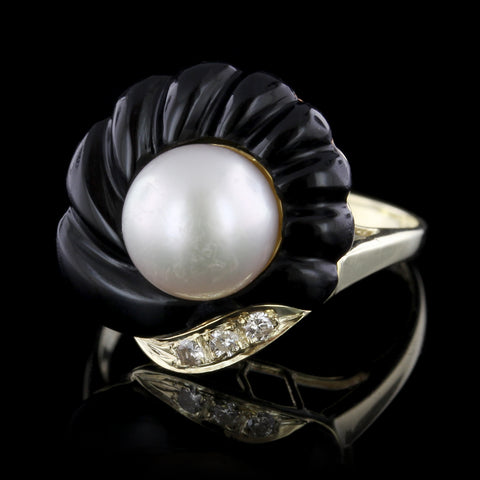 14K Yellow Gold Estate Cultured Pearl, Onyx and Diamond Ring