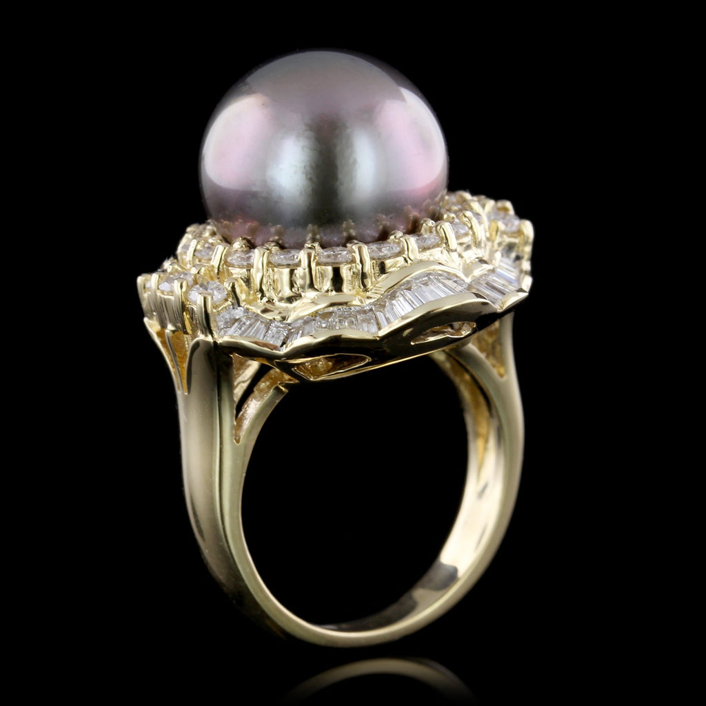 18K Yellow Gold Estate Cultured Tahitian Pearl and Diamond Ring
