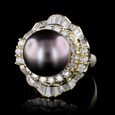 18K Yellow Gold Cultured Tahitian Pearl and Diamond Ring