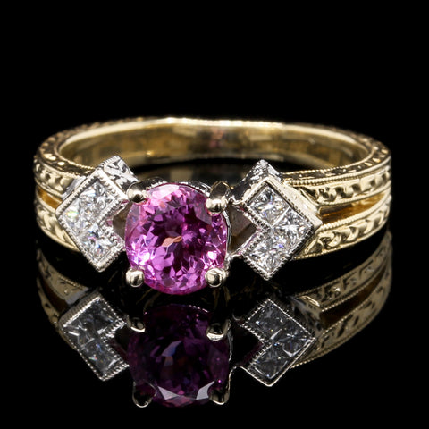 18K Two-tone Gold Estate Pink Sapphire and Diamond Ring