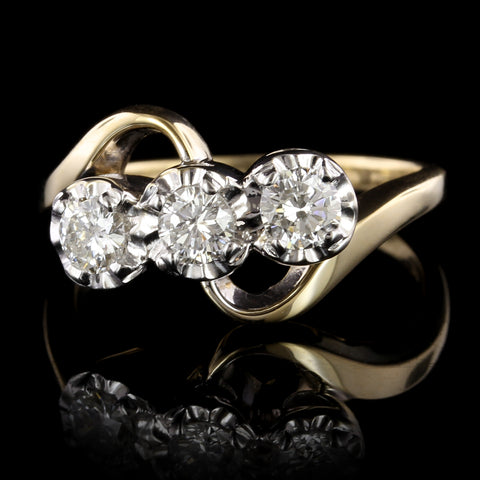 14K Two-tone Gold Diamond Three Stone Ring
