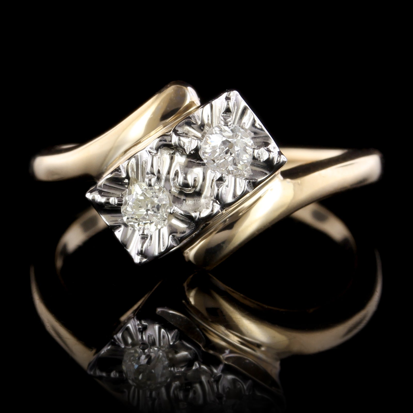 14K Two-tone Gold Estate Diamond Bypass Ring