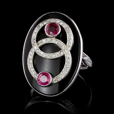 Vintage 18K White Gold Onyx, Ruby and Diamond Ring