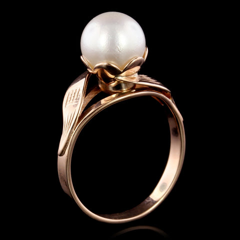 14K Rose Gold Cultured Pearl Ring, Russia