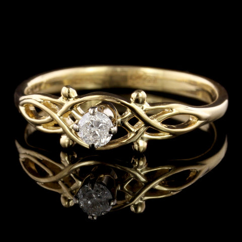 Vintage 14K Two-tone Gold Diamond Engagement Ring