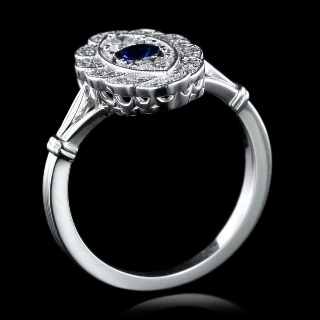 Vintage Style 14K White Gold Sapphire Ring