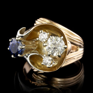18K Rose Gold and 14K White Gold Estate Sapphire and Diamond Ring