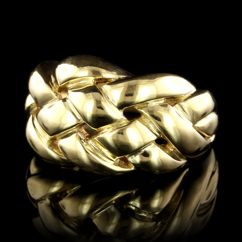 18K Yellow Gold Estate Woven Dome Ring