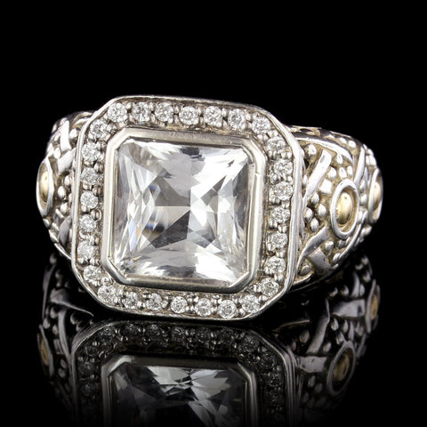 John Hardy Sterling Silver and and 18K Yellow Gold Jaisalmer White Sapphire Diamond Ring