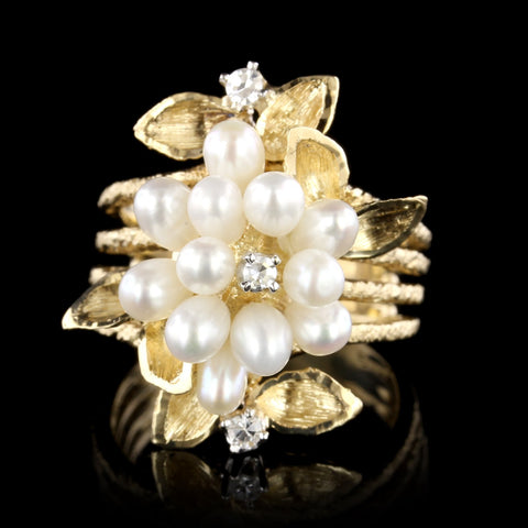 14K Yellow Gold Cultured Freshwater Pearl and Diamond Ring