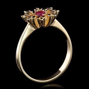 14K Yellow Gold Estate Ruby Ring