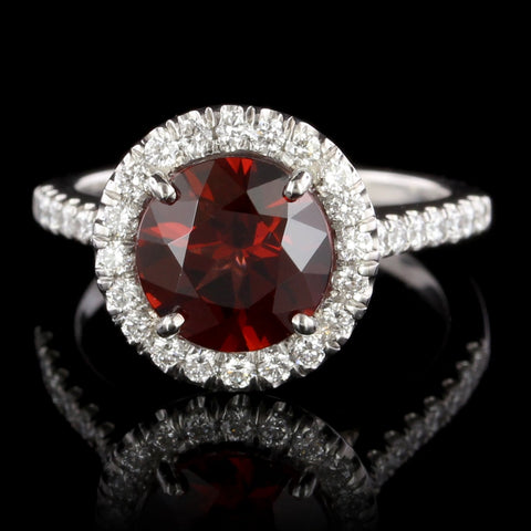 Platinum Garnet and Diamond Halo Ring