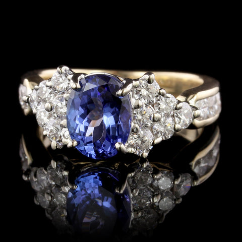 14K Two-tone Gold Tanzanite and Diamond Ring