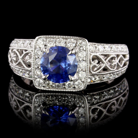18K White Gold Estate Sapphire and Diamond Ring