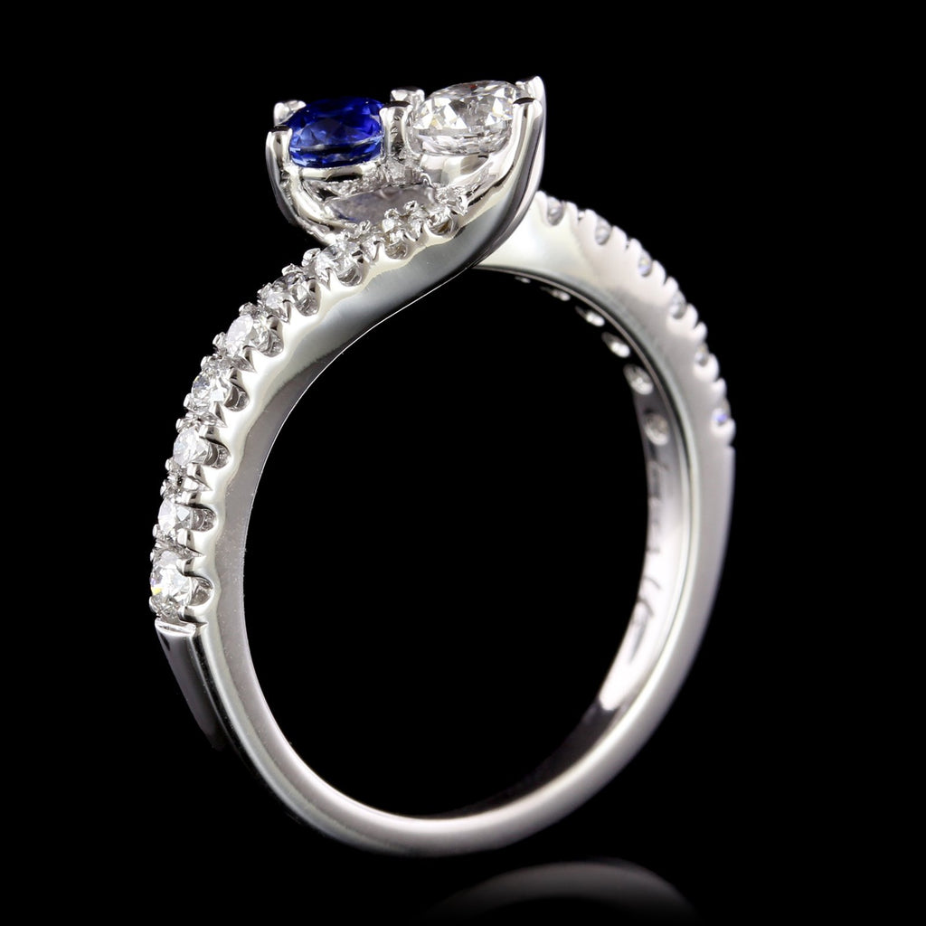 14K White Gold Estate Sapphire and Diamond Bypass Ring