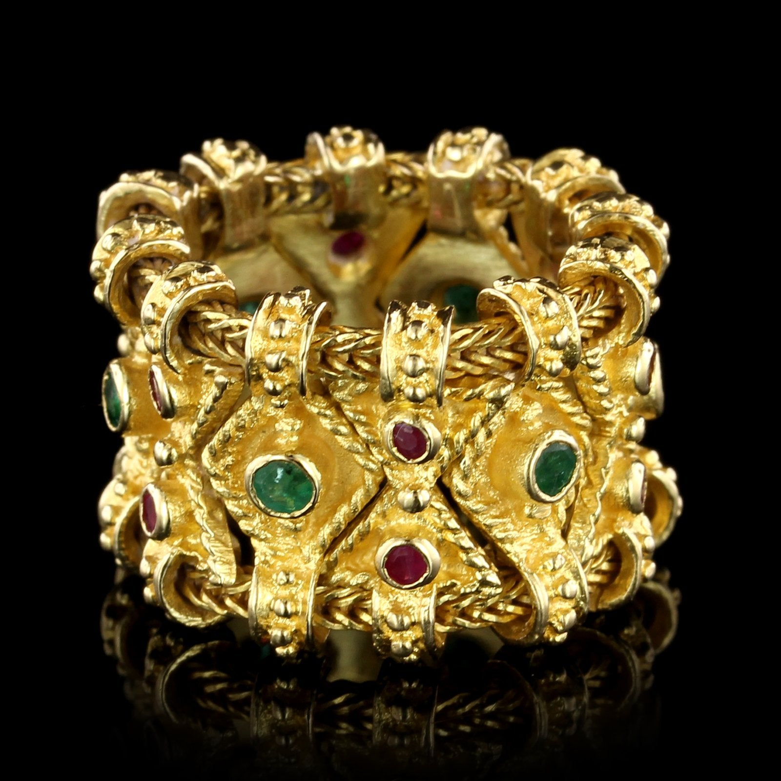 18K Yellow Gold Emerald and Ruby Etruscan Style Ring