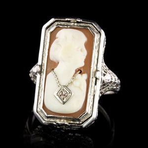 Vintage 14K White Gold Estate Reversable Cameo and Onyx Ring