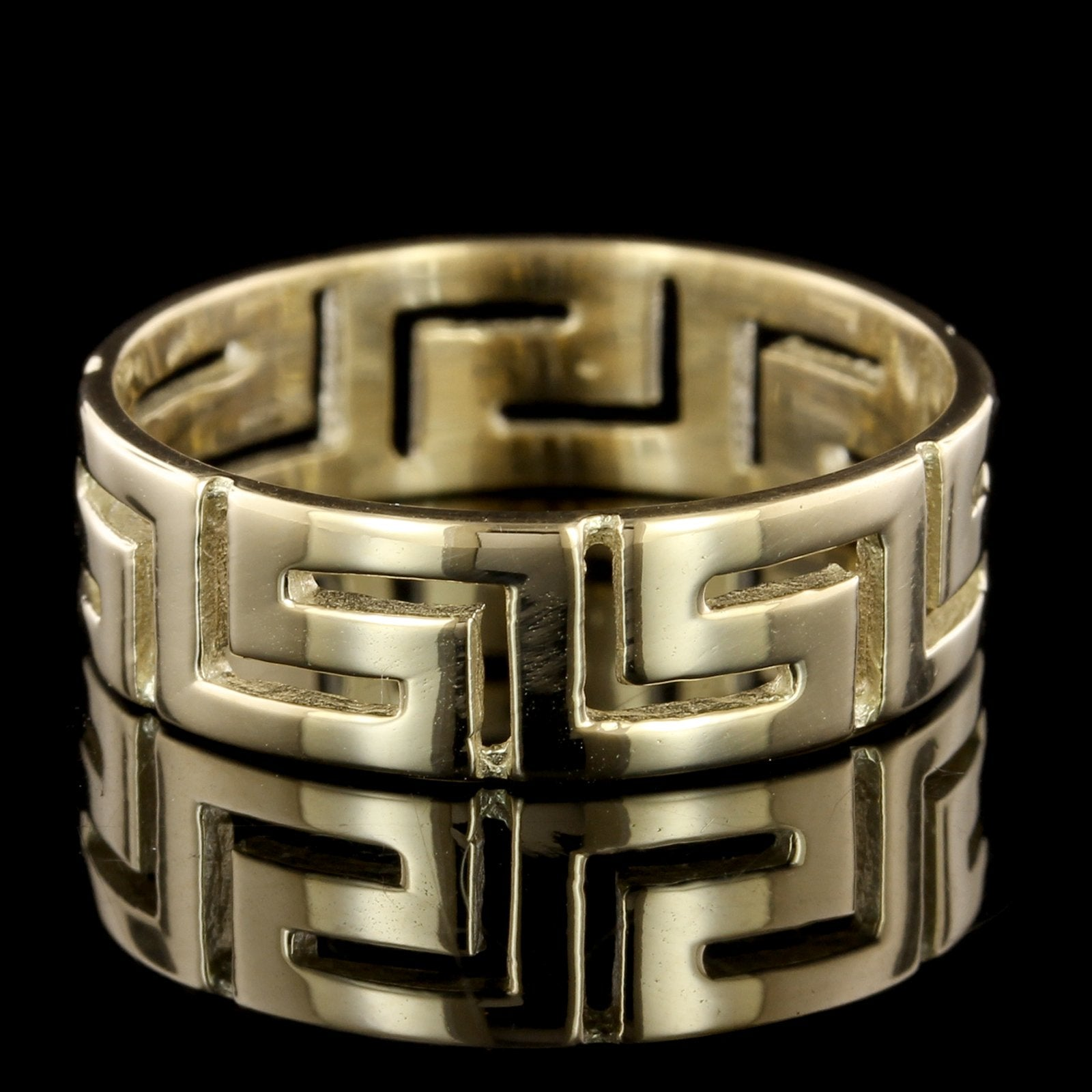 14K Yellow Gold Greek Key Band