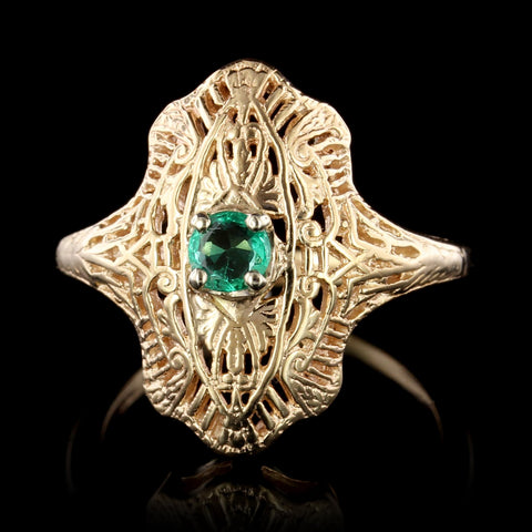 Vintage Style 14K Yellow Gold Emerald Ring