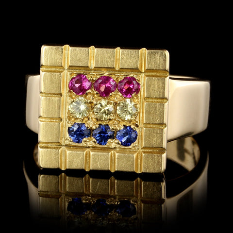 18K Yellow Gold Estate Colored Sapphire Ring