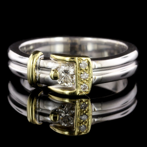 18K Two-tone Gold Diamond Buckle Ring