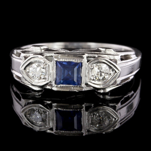 Vintage 14K White Gold Estate Sapphire and Diamond Ring