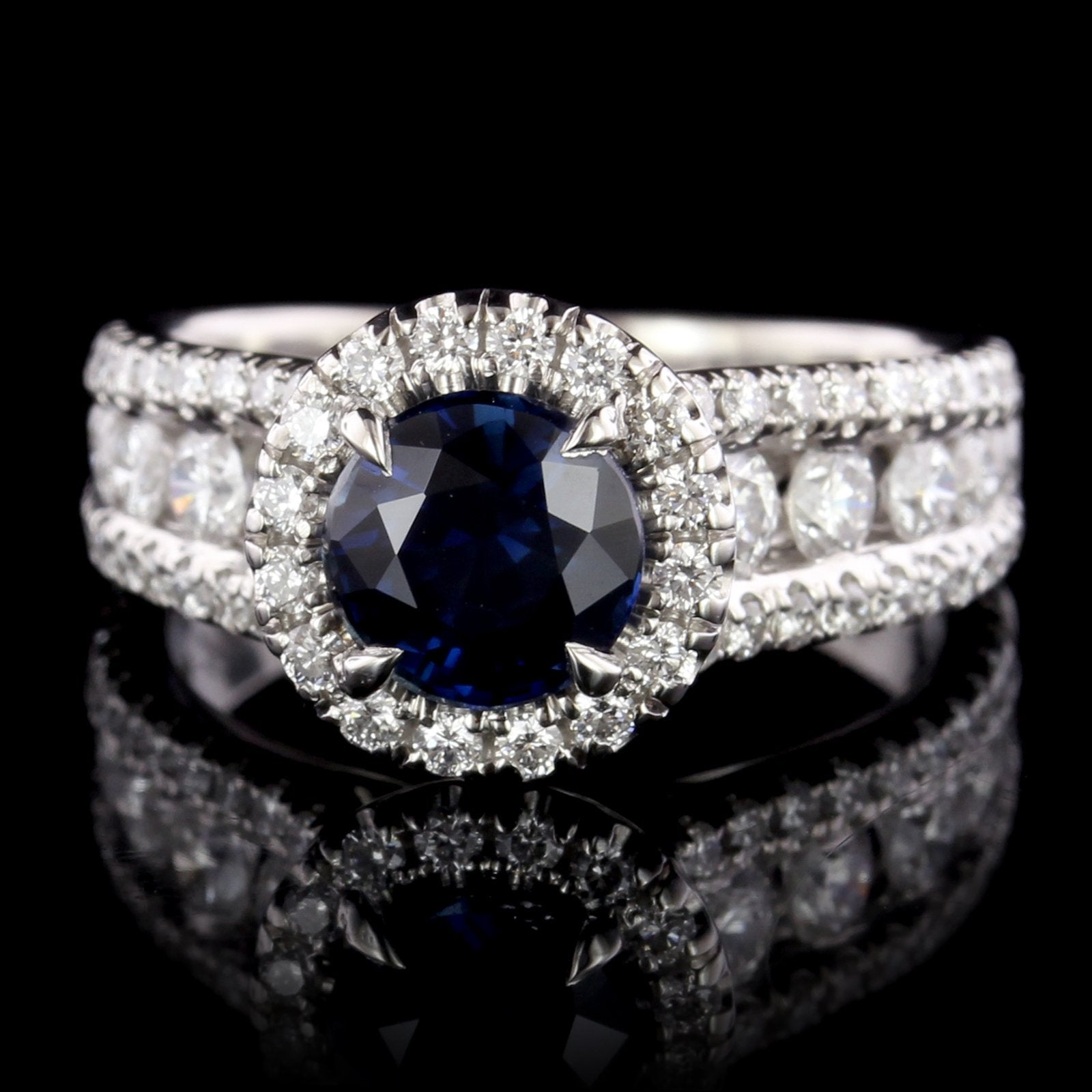 Platinum Estate Sapphire and Diamond Ring