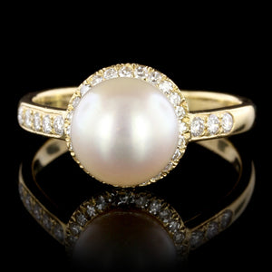 Tiffany & Co. 18K Yellow Gold Estate Cultured Pearl and Diamond Ring