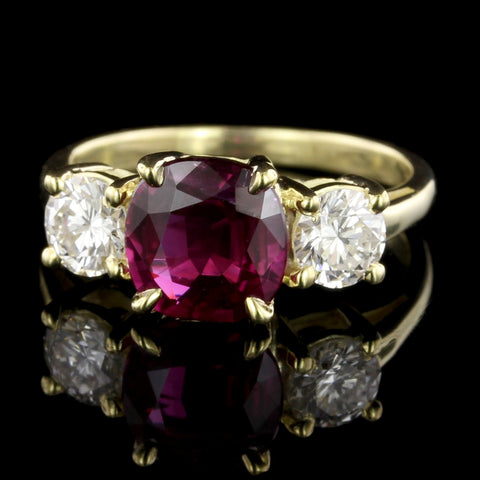 18K Yellow Gold Ruby and Diamond Three Stone Ring