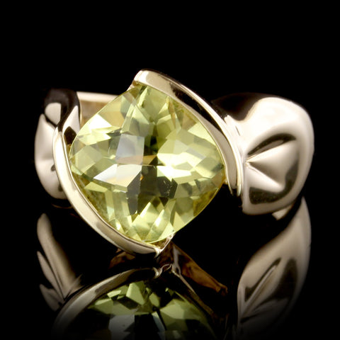14K Yellow Gold Estate Lemon Quartz Ring