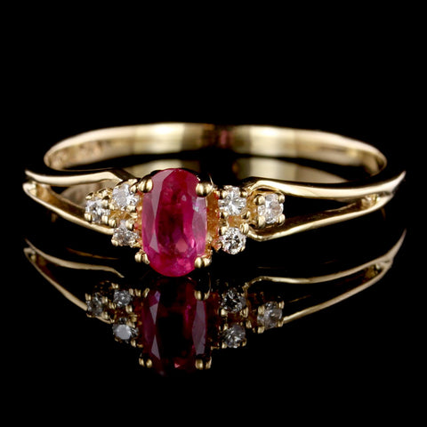 14K Yellow Gold Pink Sapphire and Diamond Ring