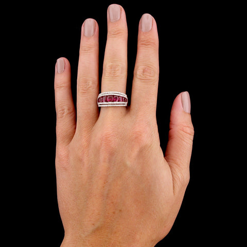 18K White Gold Estate Ruby and Diamond Ring