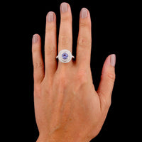 14K White Gold Estate Tanzanite and Diamond Ring