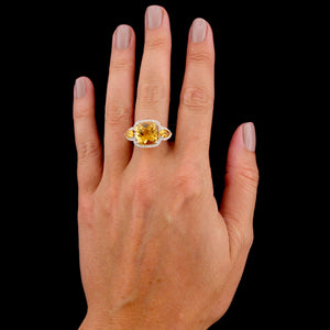 14K White Gold Estate Citrine and Diamond Ring