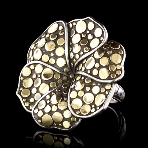 John Hardy Sterling Silver and 18K Yellow Gold Estate Flower Dot Ayu Frangipani Flower Ring
