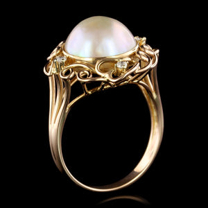 14K Yellow Gold Estate Cultured Mabe Pearl and Diamond Ring