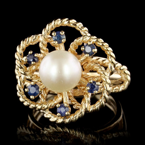 14K Yellow Gold Estate Cultured Pearl and Sapphire Ring
