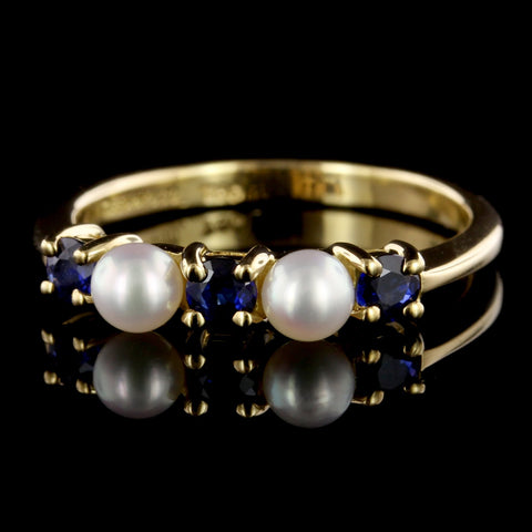Tiffany & Co. 18K Yellow Gold Estate Cultured Pearl and Sapphire Ring