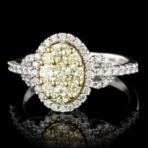 14K White Gold Estate Fancy Yellow Diamond Ring