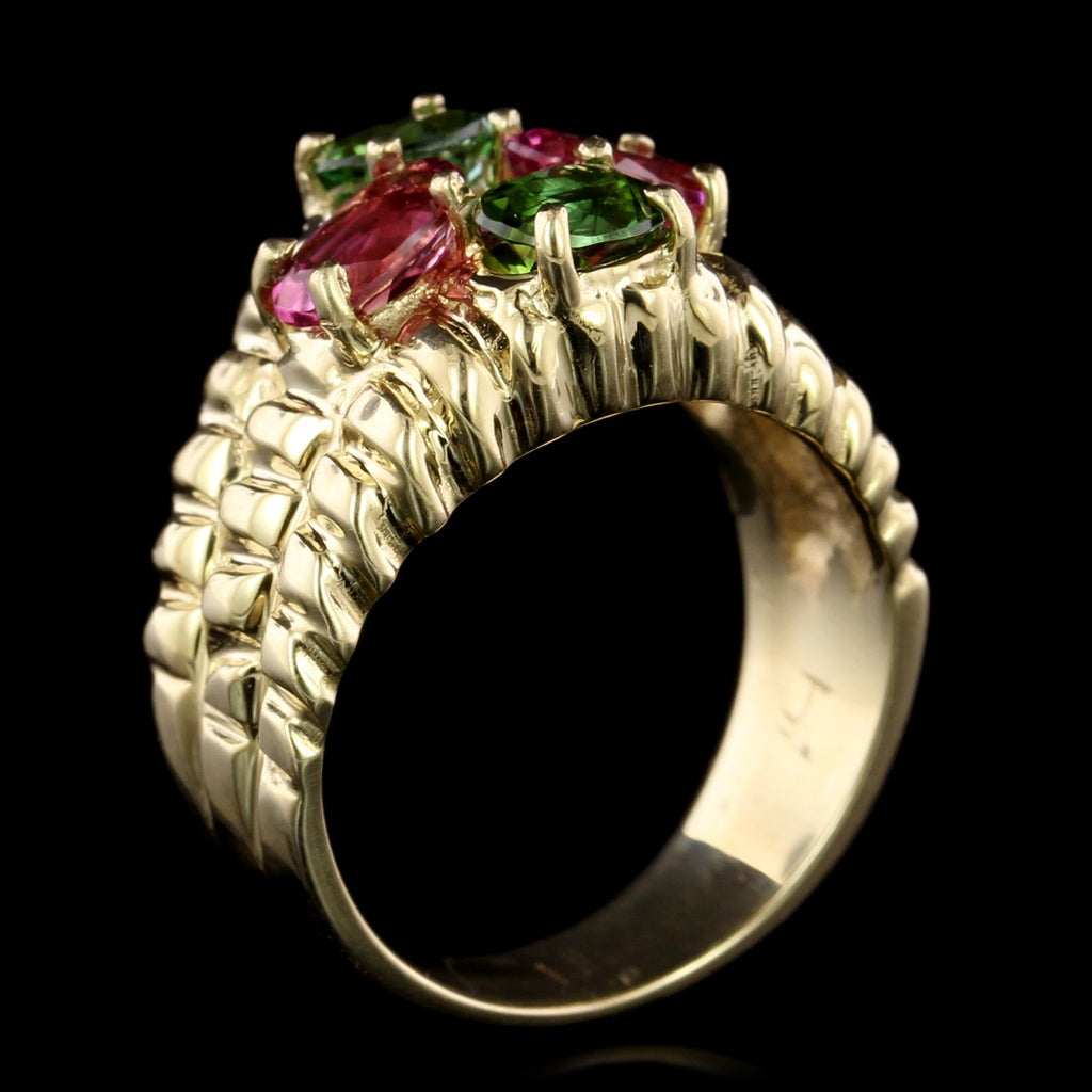 14K Yellow Gold Pink and Green Tourmaline Ring