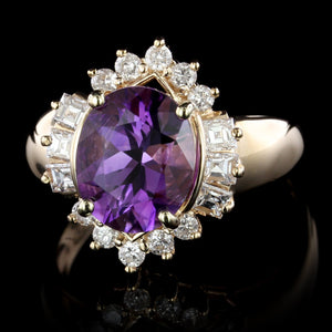 14K Yellow Gold Estate Amethyst and Diamond Ring