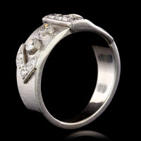 14K White Gold Estate Diamond Buckle Ring