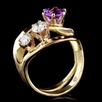 14K Yellow Gold Estate Amethyst and Diamond Ring, Signed Mahri